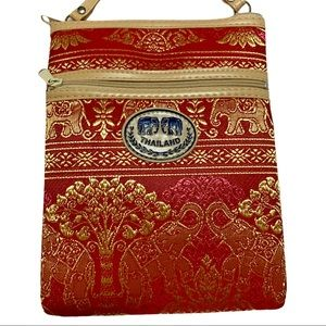 New Embroidered Thailand Crossbody Purse Red/Gold